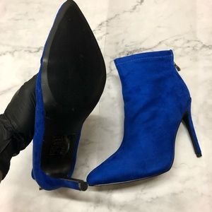 Nordstrom Shoes - Royal Blue Suede Women's Ankle Booties Heels Boots